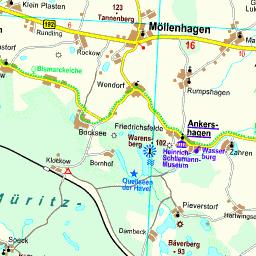 Mecklenburgische Seenplatte Kartenansicht.Karte Mecklenburgische Seenplatte