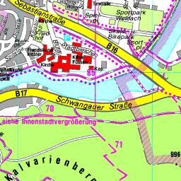 Romantische Straße Karte.Stadtplan Füssen