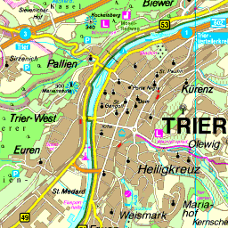 Trier Karte Umgebung.Karte Trier Saarburg